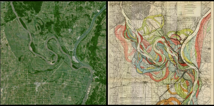 On the left, the confluence of the Mississippi and Ohio Rivers (USA) as seen by Google Earth. On the right, the confluence as seen by Harold Fisk (1944).