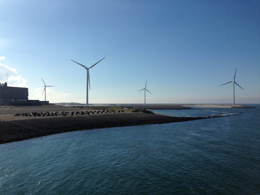 Windmills and reclaimed land at Neeltje Jans – in the 1960s, all this was a submerged sandbank.