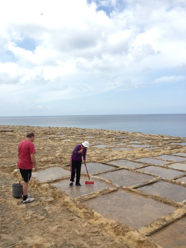 Xwejni – cleaning the salt pans to start the season.