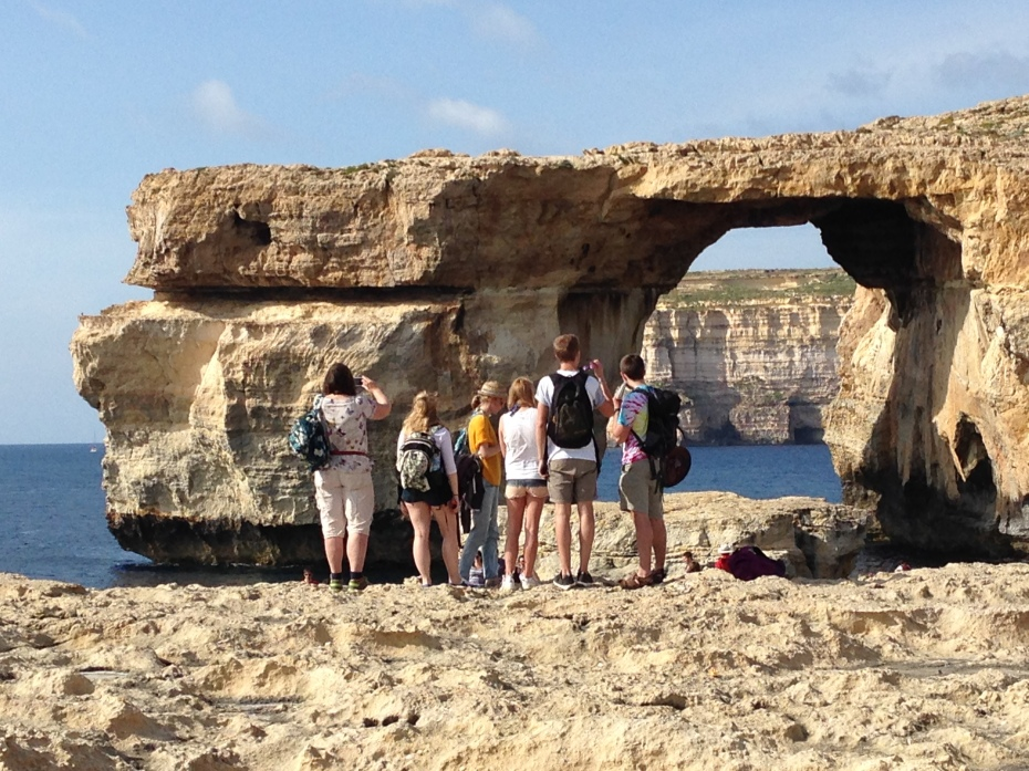 Checking out the Azure Window at Dwejra, Gozo..