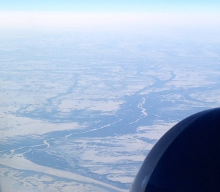 Entering Ontario, near James Bay – lots of meandering rivers.